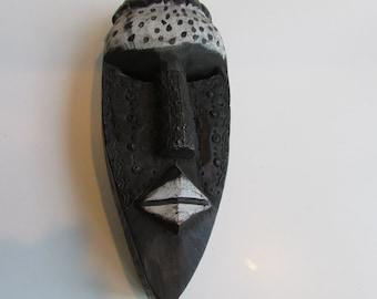 Carved Wooden Mask Ghana West Africa Metal Details