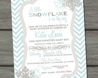 Snowflake Baby Shower Invitation, Winter Baby Shower Invitation, Chevron Baby Shower Invitation, Snowflake Invitation