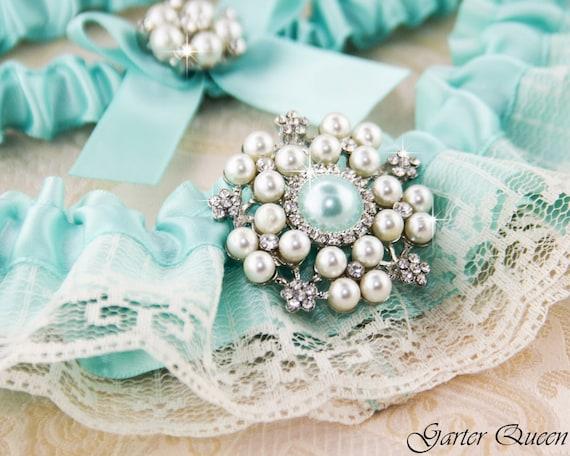 AQUA BLUE Wedding Garter