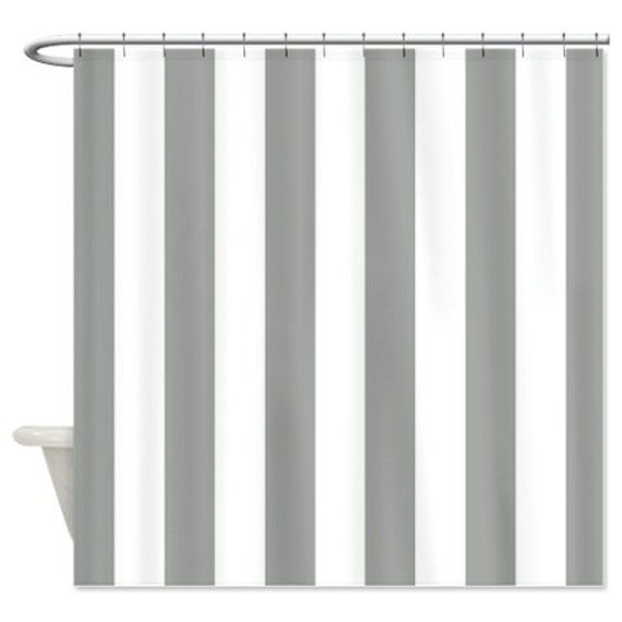 vertical striped custom shower curtain grey and white stripes. Black Bedroom Furniture Sets. Home Design Ideas