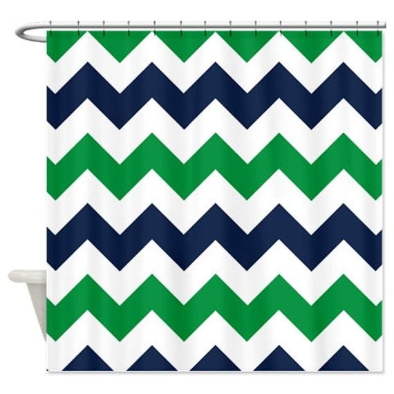 Chevron Shower Curtain Navy Blue Green White Zig Zag Stripes