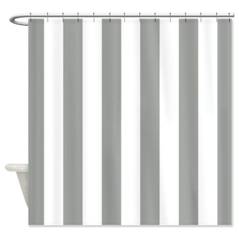 Vertical Striped Custom Shower Curtain Grey And White Stripes