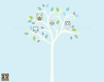 Owl tree decal, Owl tree wall sticker, Owl Nursery Art, owl wall decal, nursery owl decor, Turquoise Lemon Lime Design