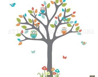Nursery Wall Decal, Owl Tree Decal, Owl Art, Owl tree wall sticker, owl wall decal, nursery owl decor, Wonderwall Design