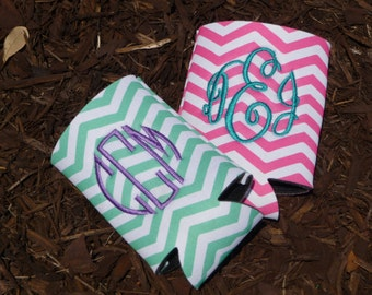Personalized Monogram Chevron Can Cooler CLOSE OUT SALE