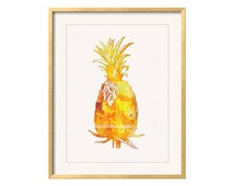 Pineapple Wall Art, Pineapple Print, Pineapple Decor, Pineapple Painting, Yellow Wall Art, Kitchen Wal Art, Tropical Pineapple, Yellow Art