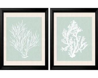 Sage Wall Art, Palladian Blue Art, Sea Foam Green, Coral Print Set, Palladian Blue Wall Art, Bathroom Wall Art, Bedroom Wall Art, Set of 2