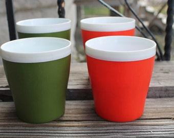Vintage Mid Century Picnic Cups - Set of 4