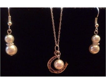 Bridesmaid set- lucky horseshoe and pearl