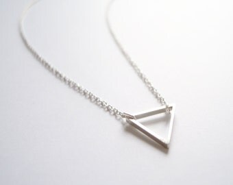 Petite Geometric Triangle Necklace in Silver