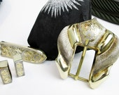 Large Vintage 1930 Art Deco 4 Piece Buckle Set, Sterling Silver, Western Dress Style, Gilded & Engraved, Guadalajara Mexico.