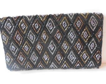 Beaded Evening Bag, Black Gold Silver, Beaded Purse, Vintage Clutch, Beaded Handbag, Glamorous Purse, Beaded Clutch EB-0072
