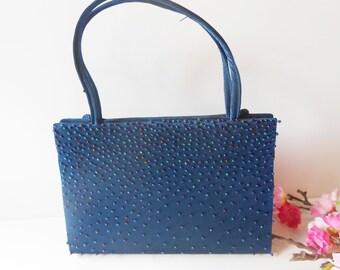 Blue Evening Bag, Blue Beaded Bag, Beaded Evening Bag,  Vintage Purse, Blue Bead, Blue Bead Purse, Blue Bead Handbag EB-0393