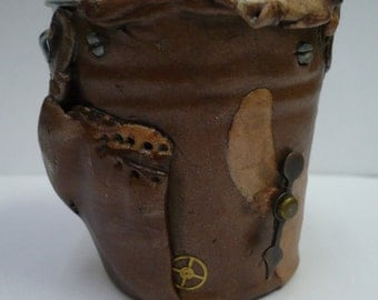 Steampunk Bucket # 1 - A Polymer Clay Covered Metal Bucket w/LOTS of Steampunk Things!