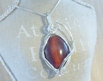 Red Tiger Eye Pendant Sterling Silver Wire Wrap