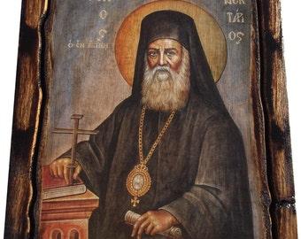 Saint St. Nectarios / Nektarios - Orthodox Byzantine icon on wood handmade (22.5 cm x 17 cm)