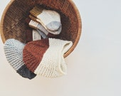 SALE / 0-6 M //Grey Colorblock Knitted Baby Hat, Baby Knitwear