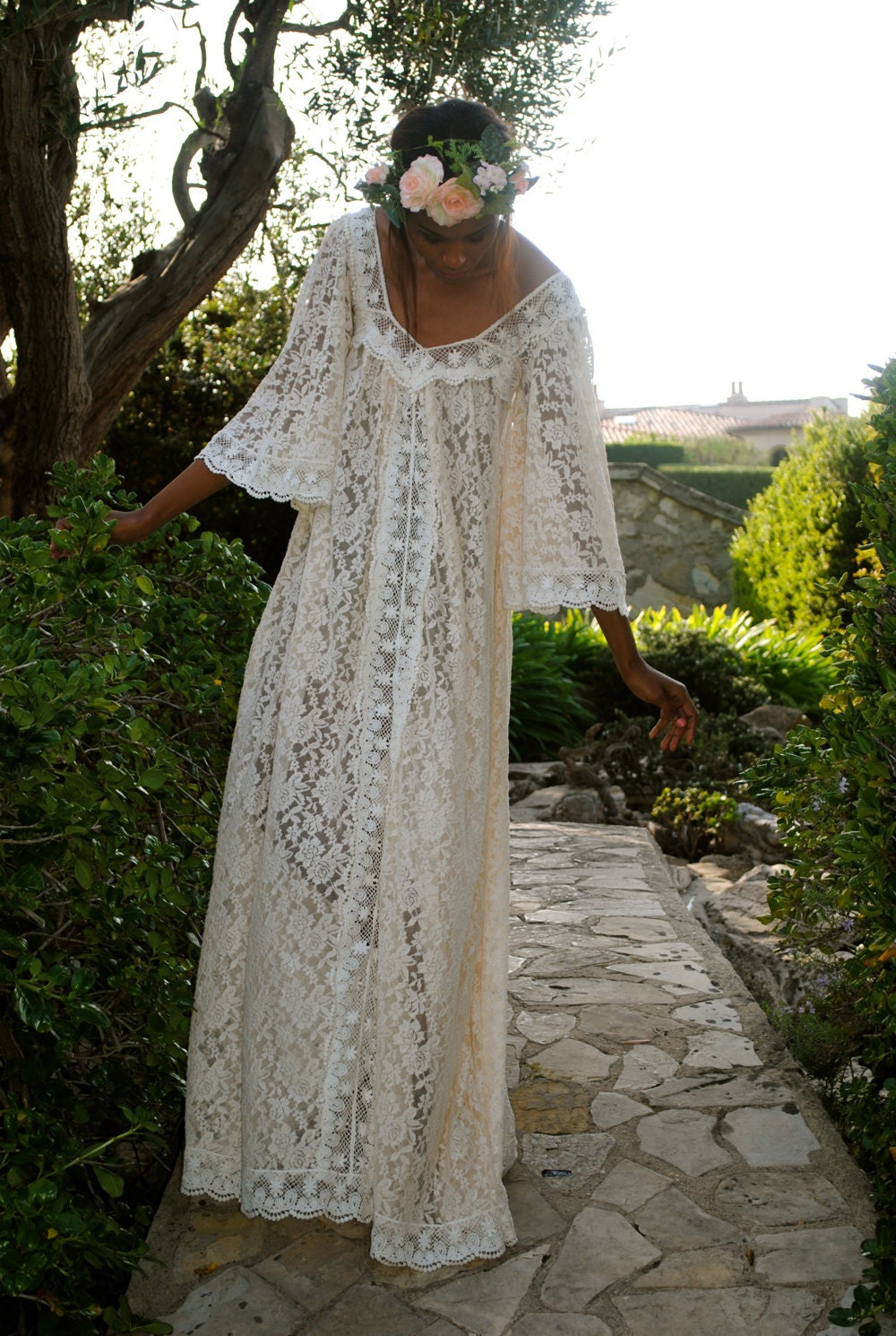 Handmade Lace Angel Sleeve Caftan Maxi Dress Hippie Bohemian