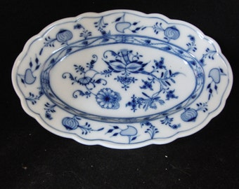Vintage white and blue plate by Colln-Moissen