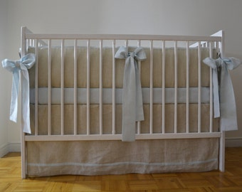 Linen crib  bedding for a boy - straight skirt and 4 side bumper