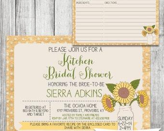 Sunflower Kitchen Bridal Shower Invite with Recipe Card - 5x7 JPG