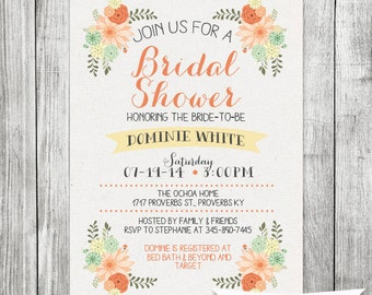 Rustic Bridal Shower Invite - 5x7 JPG