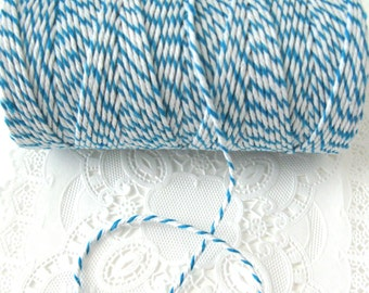 100 Yard Spool Sky Blue and White Baker's Twine | Bright Blue Cotton Twine | Bright Blue Baker's Twine | Sky Blue Baker's Twine