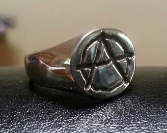 Sterling Silver Anarchy small round top signet  punk alternative steampunk ring