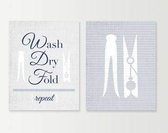 Laundry Room Decor - Laundry Room Art Prints - Wash Dry Fold Repeat - Clothespins - Laundry Decor - Home Decor - Choose your Colors