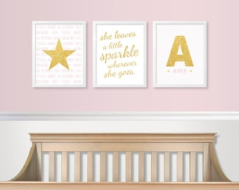 Gold & Pink Nursery Decor - Baby Girl Decor - Glitter Sparkle - Gold Glam Nursery - Baby Girl Monogram Print Wall Art - NOT REAL GLITTER