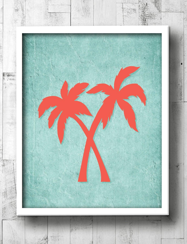 Palm tree bathroom art aqua amp coral tropical bath prints