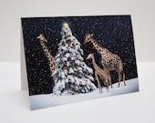 Giraffe Christmas / Holiday Photo Greeting Card