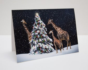 Giraffe Christmas / Holiday Photo Greeting Card