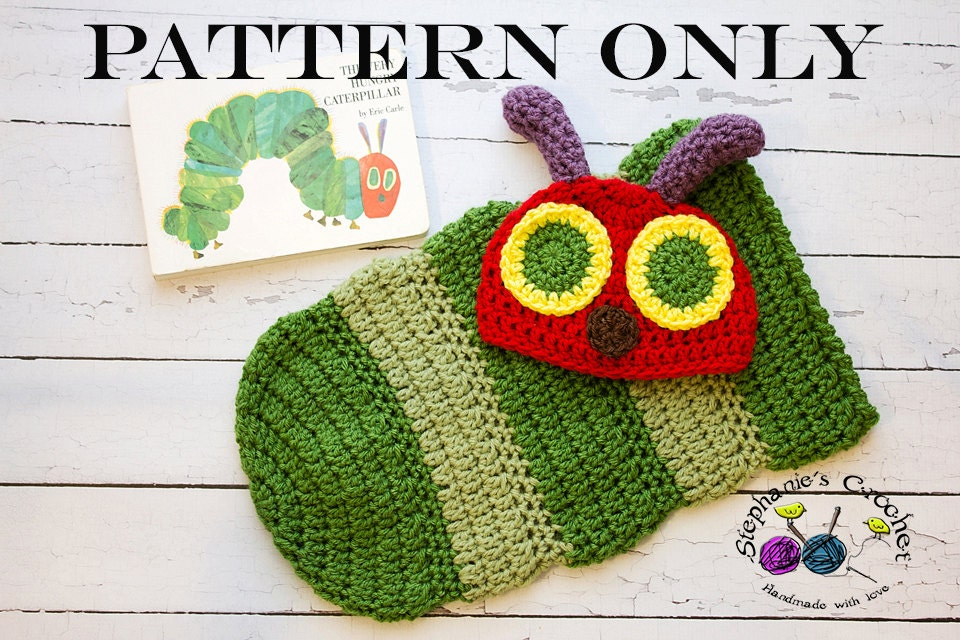 Crochet Caterpillar Baby Outfit Pattern : Crochet PATTERN Newborn Hungry Caterpillar hat and cocoon