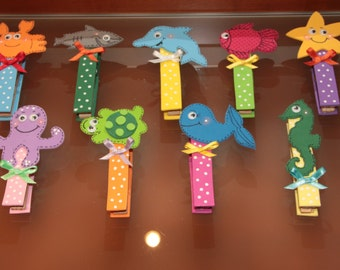 Clothes PEG decorated (6 to 500 units kit) Marine animals theme
