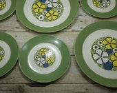 Retro Groovy Plates, 1960s, floral plates