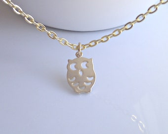 Owl Necklace, Tiny Owl Necklace, Gold Owl Necklace, Layering Owl Necklace, British Seller UK, Gifts for Girls, Woodland Gifts, BFF Gift