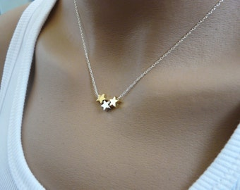 Stars necklace, Sterling silver necklace, Delicate necklace, Simple Tiny necklace, Bridesmaid necklace, Minimalist, Dainty necklace