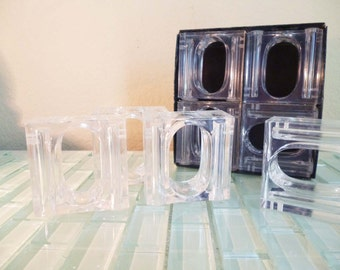 Clear Lucite Salt and Pepper Shakers AND Napkin Holders 8
