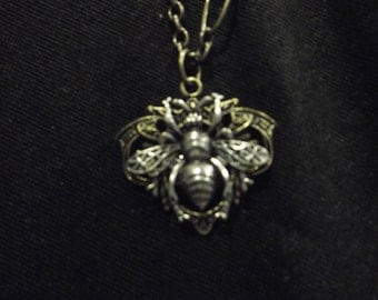 Brass and Silver tone Bee pendant