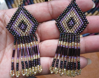 Native American Style Beaded Earring, Purple & Gold
