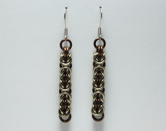 Byzantine Chainmaille Earrings | Hand Crafted Chainmaille Jewelry | Handmade Earrings | Brown and Light Brown | Anodized Aluminum