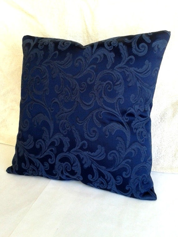 Throw Pillows For Navy Blue Couch : Navy Blue Throw Pillow Home Decor Handmade 16 x by MaddockStitches