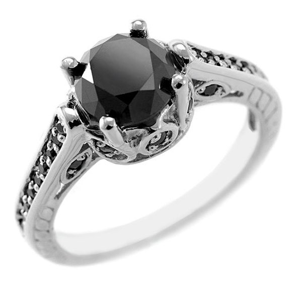 2 60ct Black Diamond Engagement Ring 14k Gold by JewelryPoint