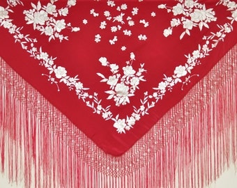 Hand embroidered silk piano shawl, spanish flamenco dancewear, mantones