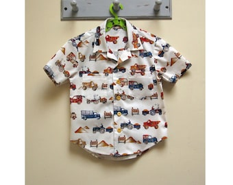 Boy's shirt pattern The Thomas Shirt pdf sewing pattern, shirt pdf pattern for 2 to 14 years old. Hawaiian Shirt children's sewing pattern