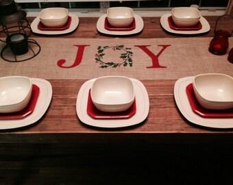 "Burlap Table Runner 12"", 14"", or 15"" wide with Joy in the center  - longer lengths Christmas runner Holiday decor"