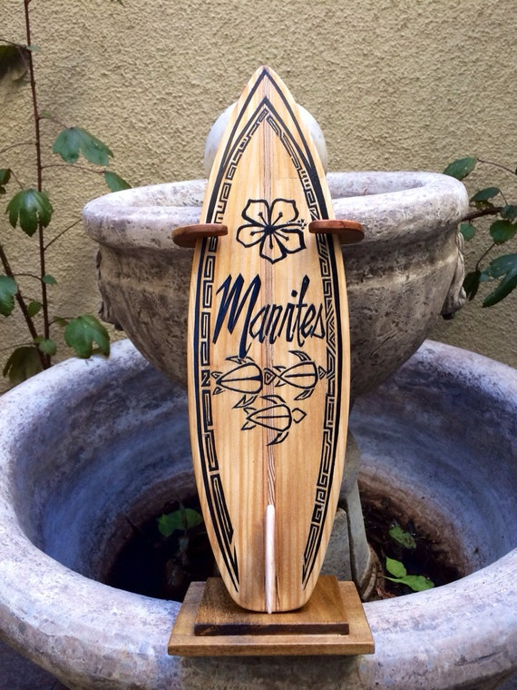 Handmade Wood Carved Burned SURFBoard Name Plate by