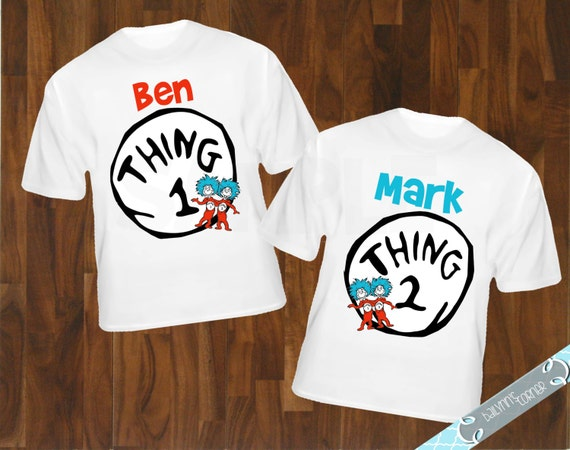 Printable Customized Thing 1 Thing 2 Birthday By