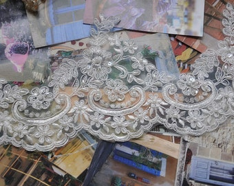 bridal veil trim lace, beaded alencon lace for wedding sash, bridal veil